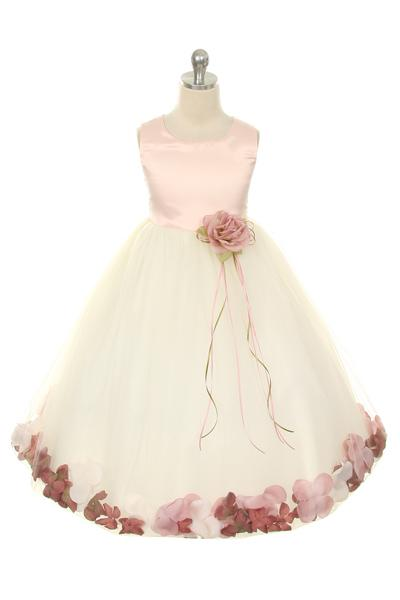 Satin Flower Petal Girl Dress (Ivory Dress)