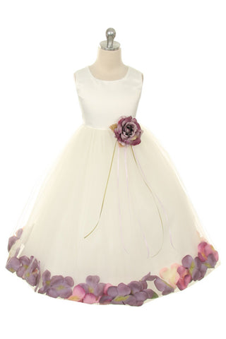 Satin Flower Petal Girl Dress (White Dress)