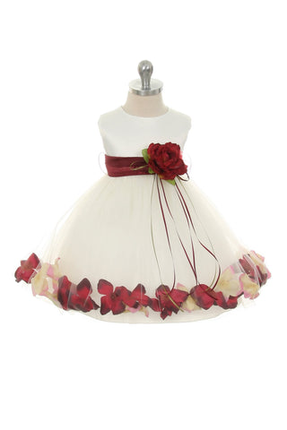 Satin Flower Petal Baby Dress With Organza Sash (White Dress)