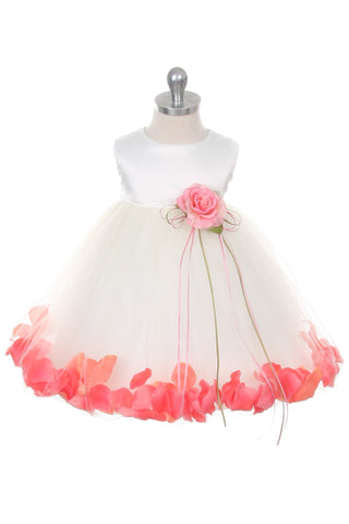 Satin Flower Petal Baby Dress (White Dress)