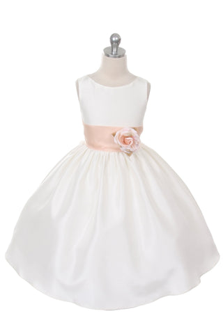 Poly Silk Organza Sash Girl Dress (White Dress)