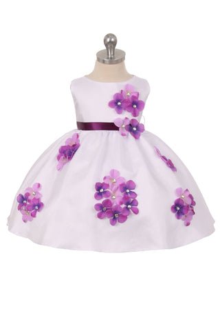 Shantung Dress Flower Petals Baby Dress