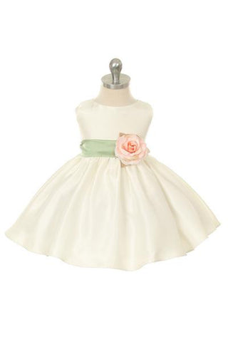 Poly Silk Organza Sash Classic Baby Dress (Ivory Dress)