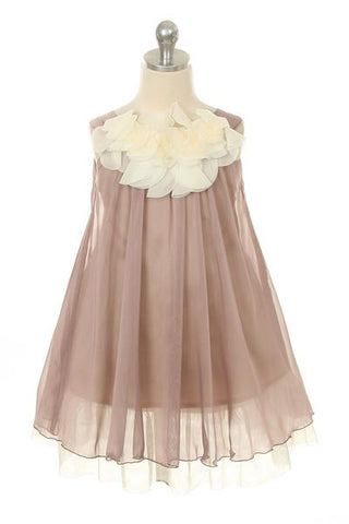 Chiffon Dress w Flower Ruffle Neckline