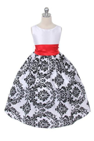 Velvet Flocked Taffeta Girl Dress