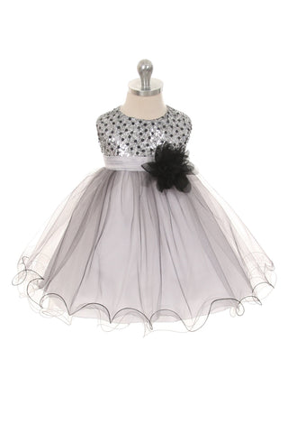 Multi-Sequin Trio Color Tulle Baby Dress