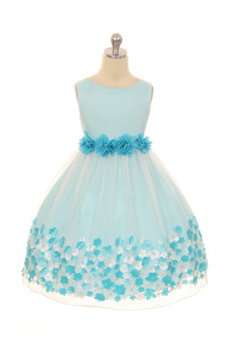 Mesh Dress w/ Taffeta 3D Flowers Girl Dress