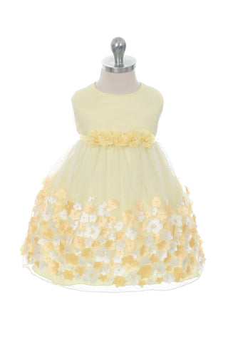 Mesh Dress w/ 3D Taffeta Flowers Baby Dress