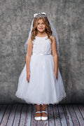 Flower Embroidered Tulle Girl Dress