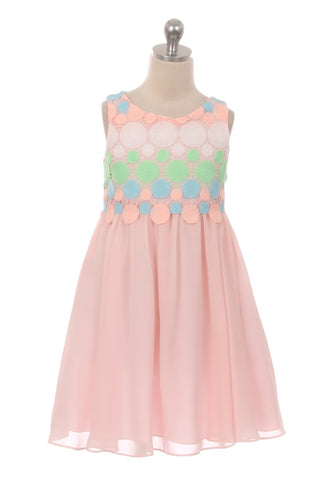 Circle Embroidery Chiffon Girl Dress