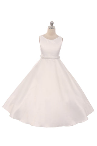 Long Satin Pearl Trim Communion Dress