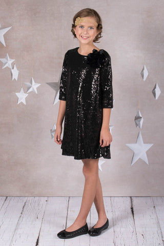 3/4 Sleeve Sequin Girl Dress