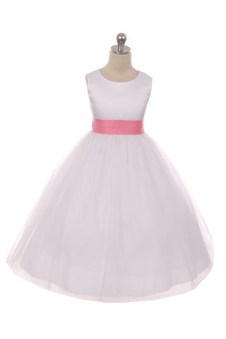 Satin Sash Bow Girl Dress (White Dress)
