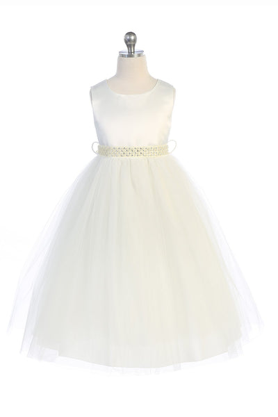 Pearl Rhinestone Satin Tulle Dress