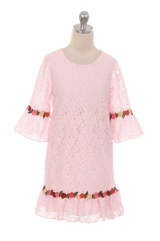 Lace Shift Dress W/ Ruffle Sleeves