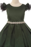 Satin Tulle Sleeve Rhinestone Dress