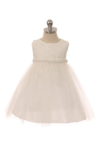 Lace Baby Dress w/ Thick Pearl Trim