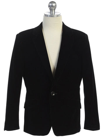 Boys Black Velvet Blazer Notch Lapel