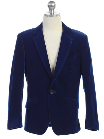 Boys Blue Velvet Blazer Notch Lapel