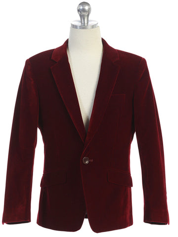 Boys Burgundy Velvet Blazer Notch Lapel