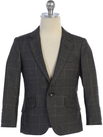 Boys Grey Windowpane Blazer Notch Lapel