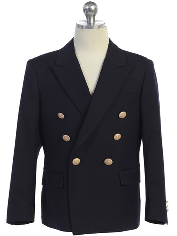 Boys Navy Blue Double Breasted Blazer Gold Buttons