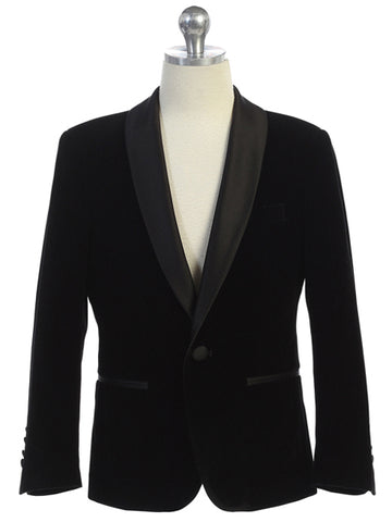 Boys Black Velvet Blazer Shawl Lapel