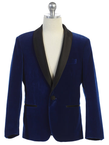 Boys Blue Velvet Blazer Shawl Lapel