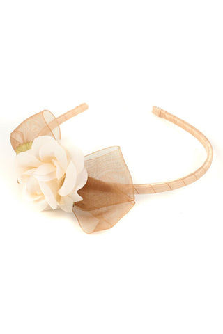 Flower & Organza Bow Headband