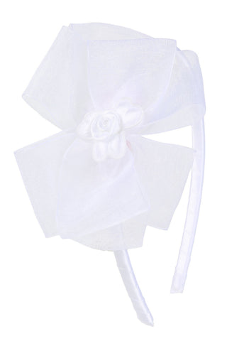 Organza Bow Headband W/ Satin Flower