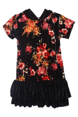 Plus Size Floral Hoodie Ruffle Dress