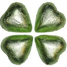 Sweetworks Leaf Green Foil Covered Chocolate Hearts - 5lbs
