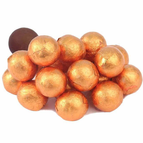 Sweetworks Orange Foil Covered Chocolate Balls - 5lbs