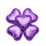 Sweetworks Purple Foil Covered Chocolate Hearts - 5lbs