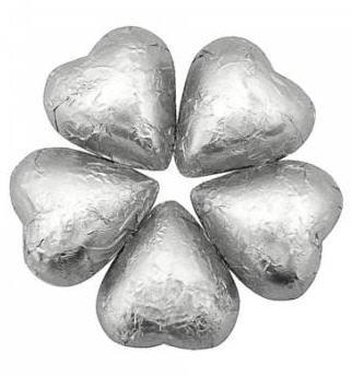 Sweetworks Silver Foil Covered Chocolate Hearts - 5lbs
