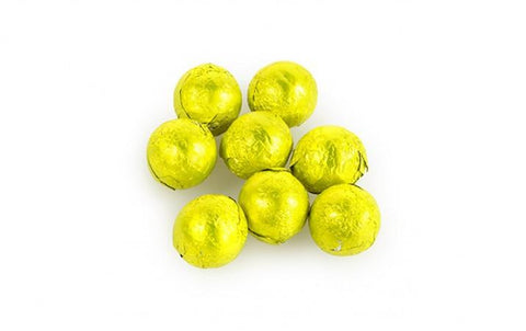 Sweetworks Yellow Foil Covered Chocolate Balls - 5lbs