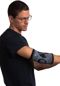 side view of simien tennis elbow compression sleeve