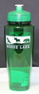 Moose Lake Village Large Water Bottle - Green
