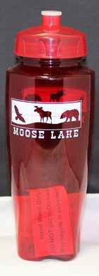 Moose Lake Village Large Water Bottle - Red