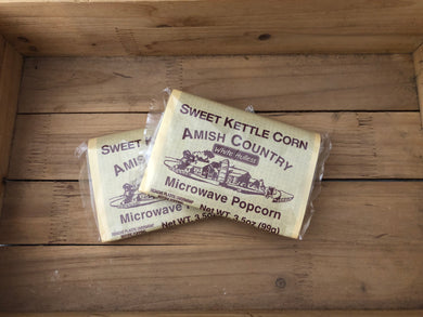 Amish Country Microwave Popcorn - Sweet Kettle Corn - Hulless