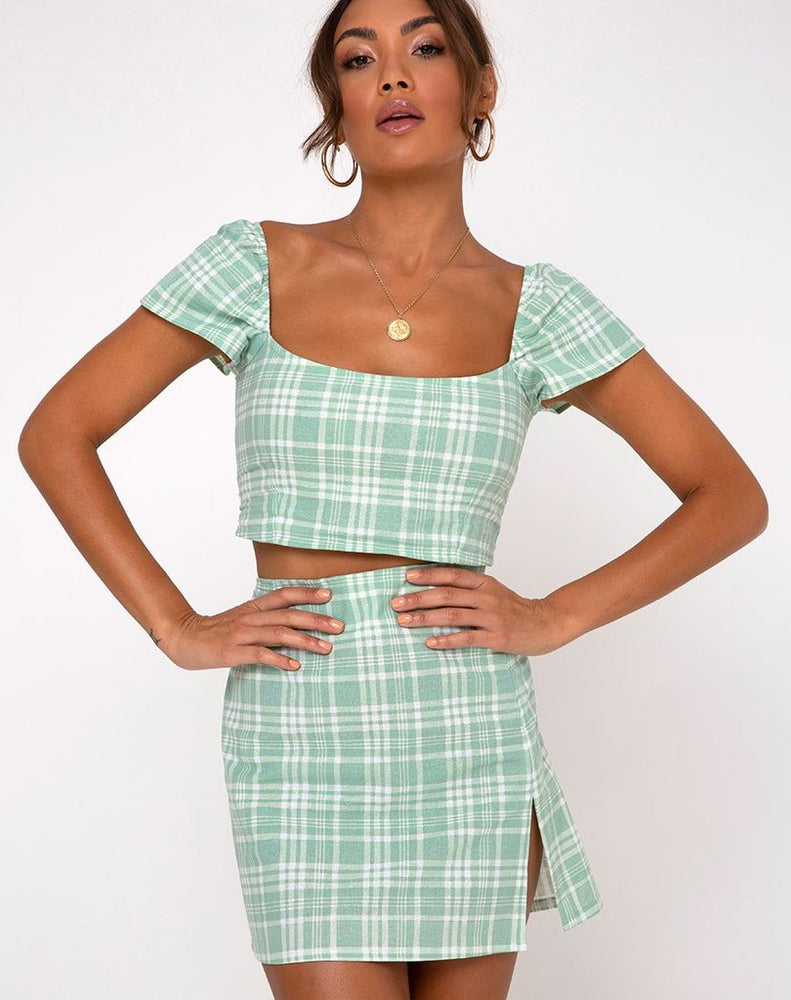 Motel Cindy Crop Top in Table Cloth Neo Mint