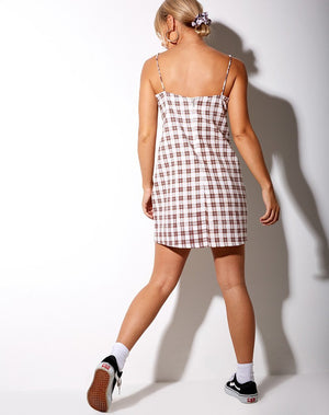 Motel Mala Dress in Checkmate Brown