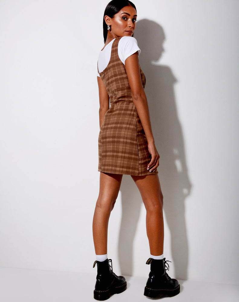Motel Mehra Dress in Brown Plaid Check