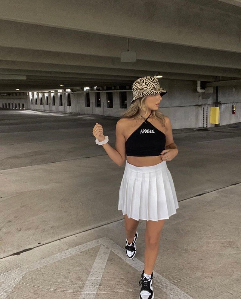 Motel April Crop Top in Black Angel