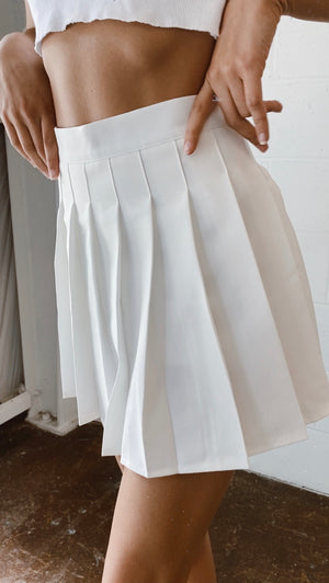 Bex Pleated Mini Skirt in White