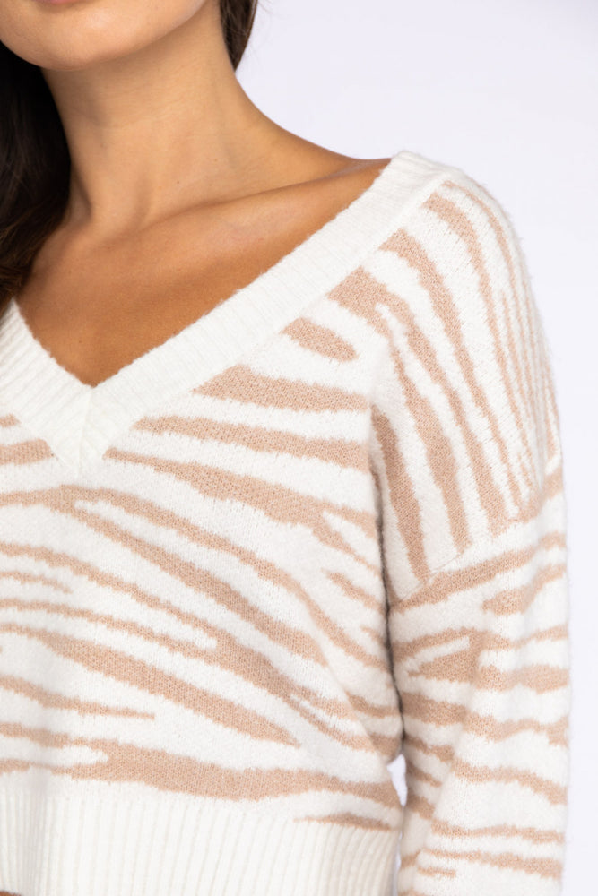 Tiger Print V Neck Sweater