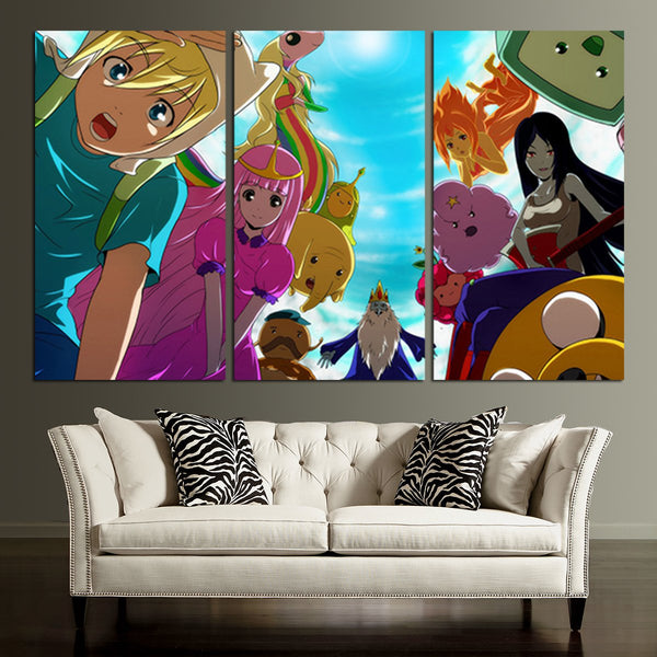 3 Panel Adventure Time Anime Wall Art Canvas