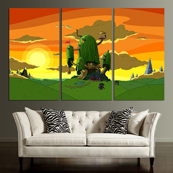 3 Panel Adventure Time Beautiful Scenery Wall Art Canvas