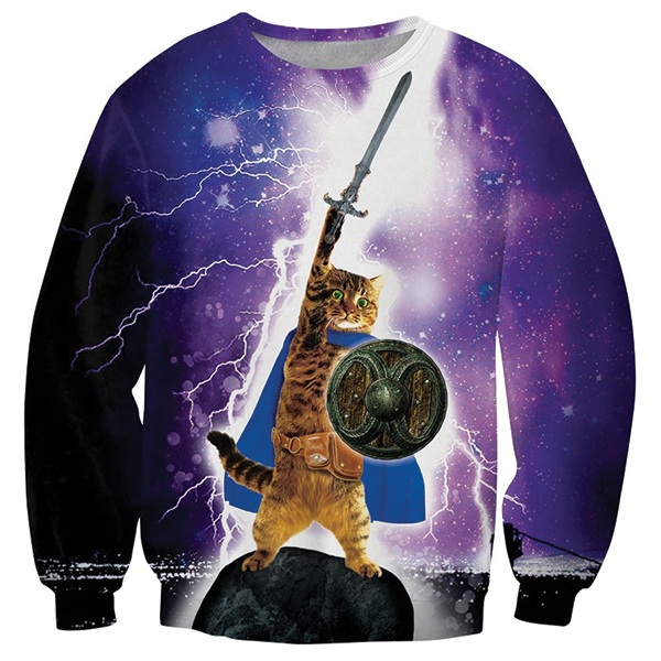 Lightening Cat Galaxy 3D Printed Shirts