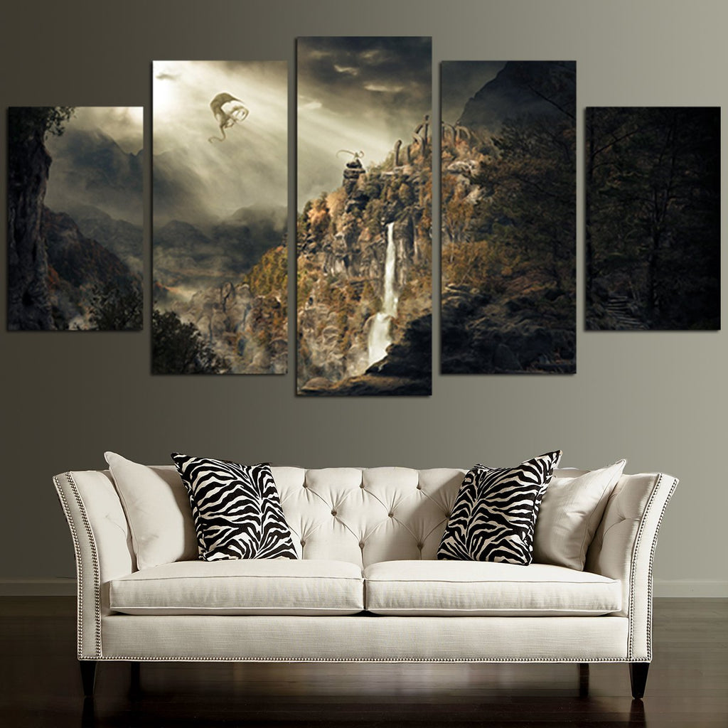 ... 5 Panel The Elder Scrolls Waterfall And Dragon Wall Art Canvas ...